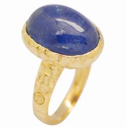 De Buman 18k Yellow Gold over Sterling Silver Tanzanite Ring