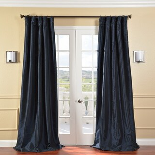 Solid Faux Silk Taffeta Navy Blue 108-inch Curtain Panel