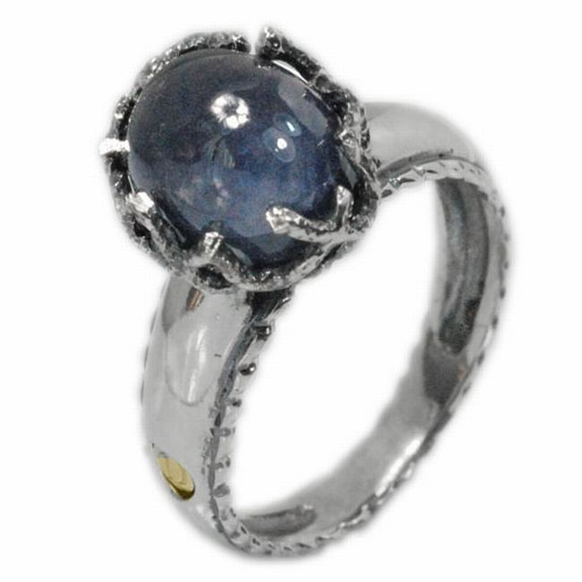 De Buman 18k Yellow Gold and Sterling Silver Oval Sapphire Ring