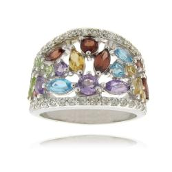 Dolce Giavonna Sterling Silver Multi-gemstone and White Diamond Accent Ring