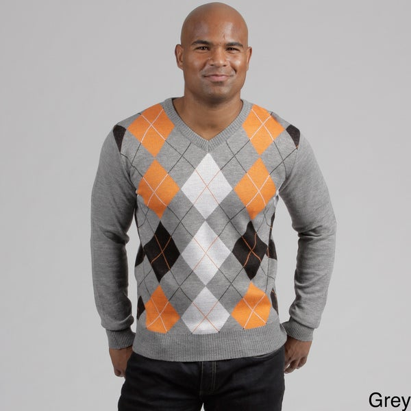 South Pole Men's Argyle V-neck Sweater
