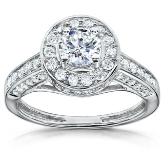 Annello 14k Gold 1ct TDW Diamond Halo Engagement Ring (H-I, I1-I2)