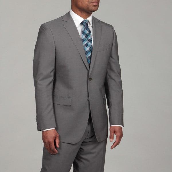 DKNY Men's Grey Tonal Stripe Wool 2-button Suit FINAL SALE