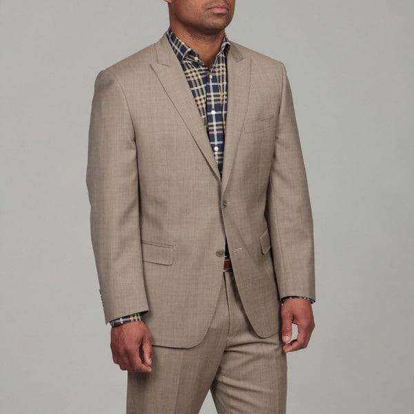 Calvin Klein Men's Tan Wool 2-button Suit