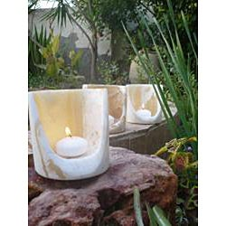 Set of 3 Alabaster 'Torch' Candle Cylinders (Egypt)