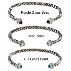Sunstone Two-tone Silver Glass Bead Rope Design Cuff Bracelet