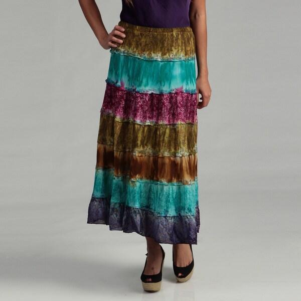 Lola P Women's Golden Olive Assorted Print Skirt