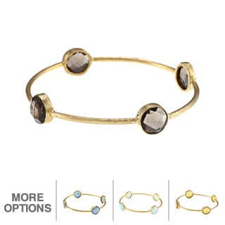 M by Miadora 22k Yellow Goldplated Brass Gemstone Bangle Bracelet