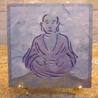 Hand-carved 'Smiling Buddha' Stone Art Tile