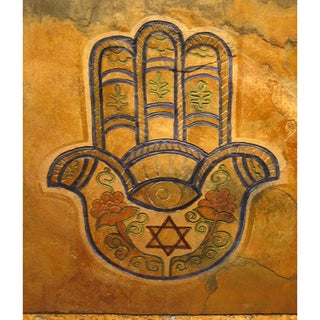 Karmic Stone 'The Hamsa Good Luck Hand' Hand-carved Stone Judaic/ Symbolic Artisan Tile Wallhanging