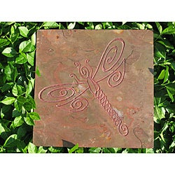 Karmic Stone 'The Dragonfly' Hand Carved Stone Whimsical Dragonfly Artisan Tile Wallhanging