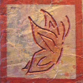 Karmic Stone 'The Red Butterfly' Hand-carved Stone Symbolic Butterfly Artisan Tile Wallhanging