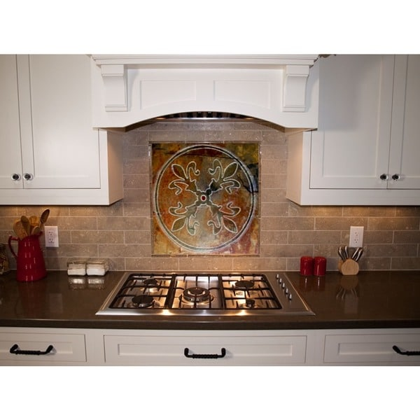 Kitchen Tile/ Artisan Stone 'Fleur-de-Lis' Custom Tile/ Hand-carved Kitchen Tile