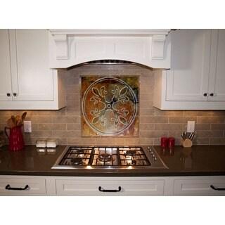 Kitchen Tile/ Artisan Stone 'Fleur-de-Lis' Custom Tile/ Hand-carved Kitchen Tile