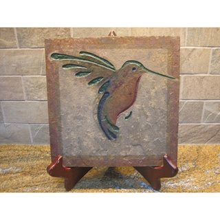 The Hummingbird' Hand-carved Stone Tile Symbolic Artisan Wallhanging Art