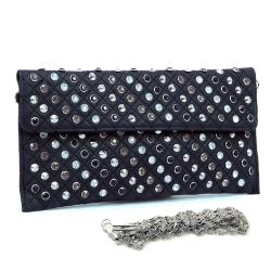 Dasein Faux Leather Studded Clutch