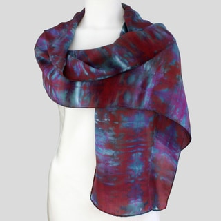 Gypsy River Riches Hand-dyed 'Nightfall' Washable Silk Scarf