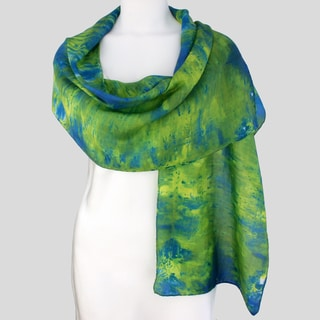 Gypsy River Riches Hand-dyed &#39;Limelight&#39; Washable Silk Scarf