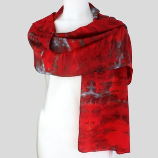 Gypsy River Riches Hand-dyed &#39;Cabernet&#39; Washable Silk Scarf