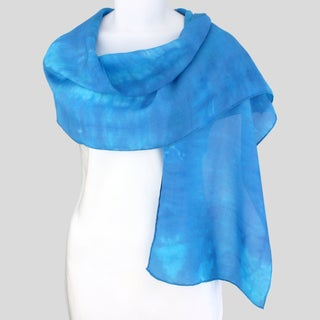 Gypsy River Riches Hand-dyed 'Blue Lagoon' Washable Silk Scarf