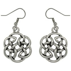 Carolina Glamour Collection Pewter Celtic Shield of Destiny Drop Earrings