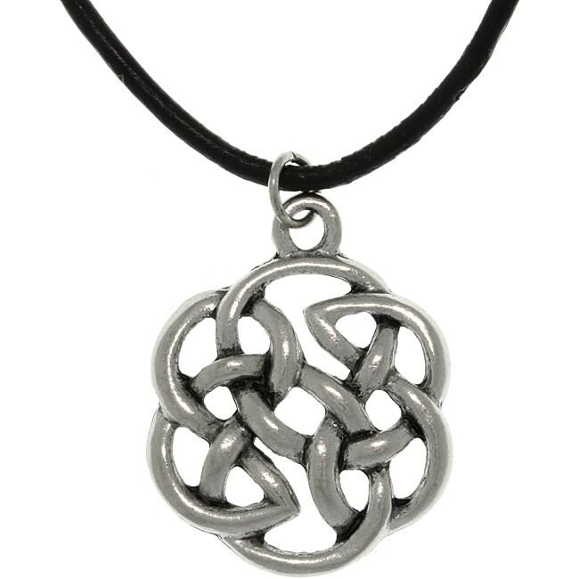 Carolina Glamour Collection Pewter Unisex Celtic Shield of Destiny Black Cord Necklace