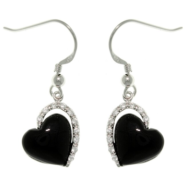 Carolina Glamour Collection Sterling Silver Black Enamel Cubic Zirconia Heart Dangle Earrings