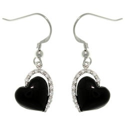 CGC Sterling Silver Black Enamel Cubic Zirconia Heart Dangle Earrings
