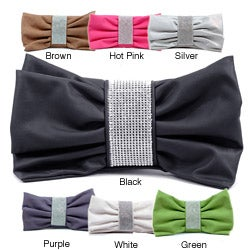 Dasein Faux-leather Rhinestone-center Bow-shaped Lined Clutch