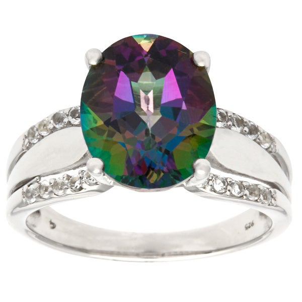 D'sire Sterling Silver Mystic Green Topaz Oval and Cubic Zirconia Ring