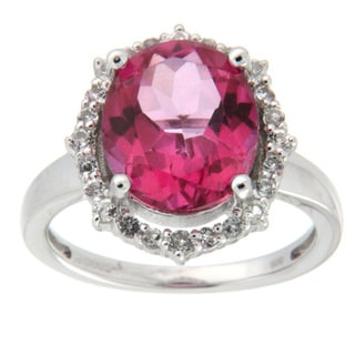 D'sire Sterling Silver Pink Topaz and Cubic Zirconia Fashion Ring