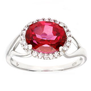 D'sire Sterling Silver Oval Peony Topaz and Cubic Zirconia Ring