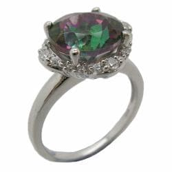D'sire Sterling Silver Mystic Green Topaz and Cubic Zirconia Fashion Ring