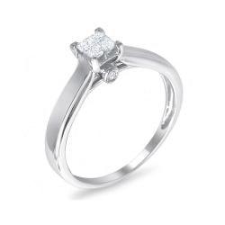 10k White Gold 1/4ct TDW Diamond Multi Stone Solitaire Ring (H-I, I1)