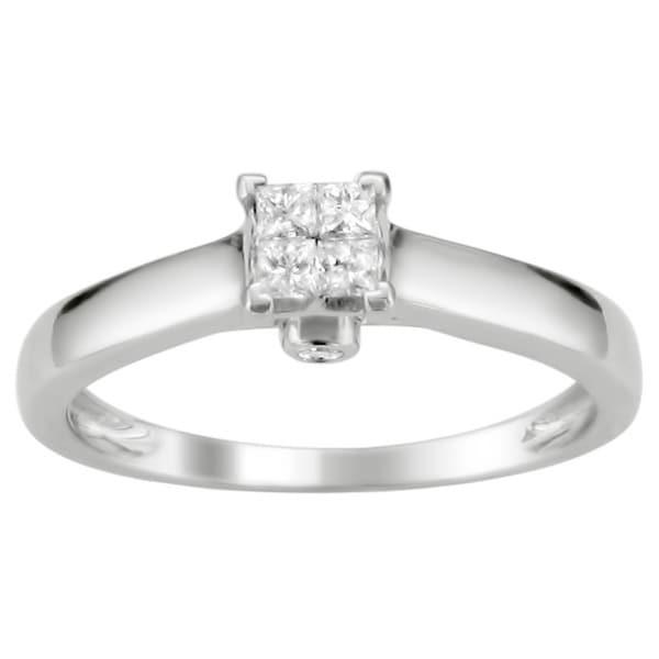 Montebello 10k White Gold 1/4ct TDW Diamond Multi Stone Solitaire Ring (H-I, I1)