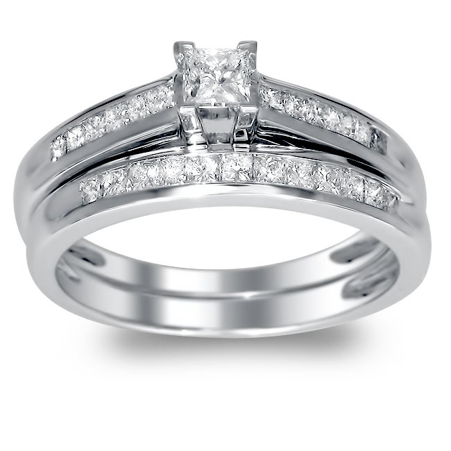 Montebello 14k White Gold 3/4ct TDW Princess Cut Diamond Bridal Set (H-I, I1)
