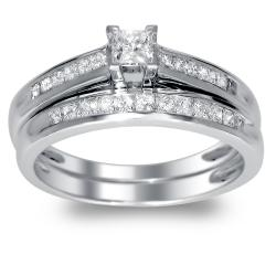 14k White Gold 3/4ct TDW Princess Cut Diamond Bridal Set (H-I, I1)