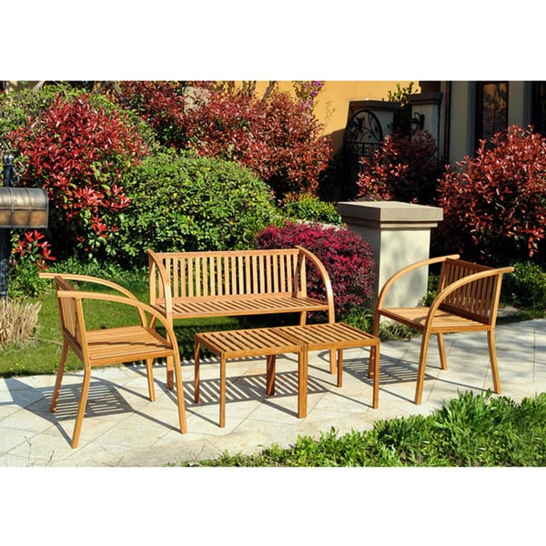 angelo:HOME Vineyard Bamboo Garden 5-piece Indoor/Outdoor Furniture Set