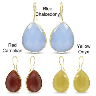 Miadora Goldtone Pear-cut Double Checkerboard Gemstone Earrings (28ct TGW)