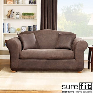 Sure Fit Stretch Leather 2-Piece Loveseat Slipcover