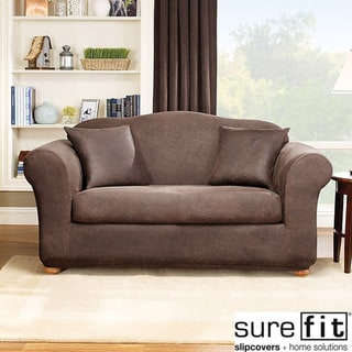 Stretch Leather 2-Piece Loveseat Slipcover