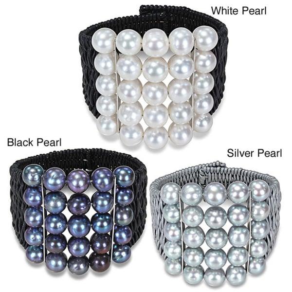 Miadora Freshwater Pearl Leather Cord Bangle Bracelet (9-10 mm)