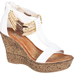 Refresh by Beston Women's White 'CABY-03' T-strap Wedge Sandals