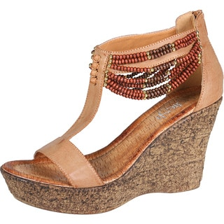 Refresh by Beston Women's Camel 'CABY-03' T-strap Wedge Sandals