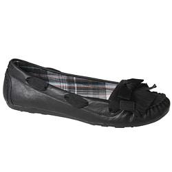 Refresh by Beston Women's 'ALLEN-02' Black Fringed Flats