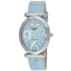 Burgi Women's Swiss Quartz Blue-Strap Stainless-Steel Floral Watch