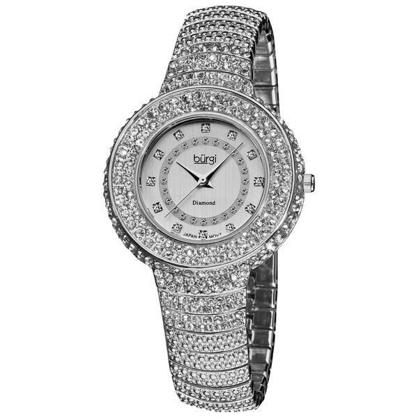 Burgi Women's Diamond And Crystal-Accented Silver-Tone Bracelet Watch