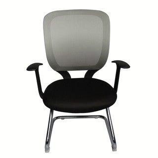 Foust Contemporary Black and Gray Mesh Visitor Chair with Chrome Base