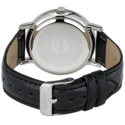 August Steiner Women's MOP Crystal Quartz Black-leather Strap Watch