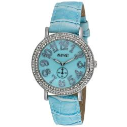 August Steiner Women's MOP Blue Crystal Quartz Strap Watch